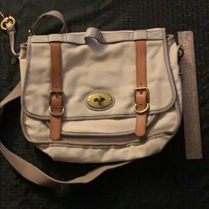 Fossil canvas and leather messenger/computer bag